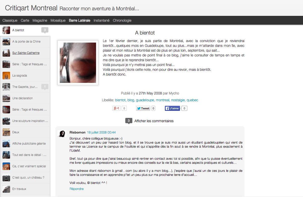 Blog – Quand je tenais Critiqart Montréal…