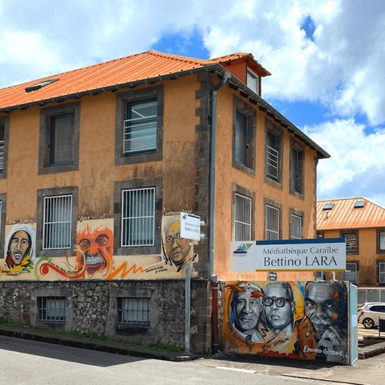 Sur les murs de la médiathèque à Basse-Terre, des personnalités inspirantes